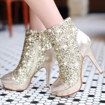 SEQUINED ZIPPER BOOTS HIGH HEELS