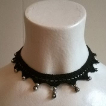 Gothic choker necklace crochet stainless steel beads coton steampunk