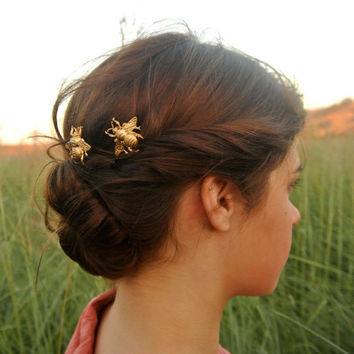 Gold Bumble Bee Bobby Pins Brass Woodland Hair Pins Gold Hair Clip