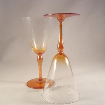 Iridescent Light Orange Optic Swirl Hand Blown Wine Glasses  S/2