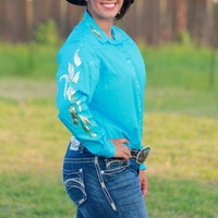 TURQUOISE RODEO SHIRT WITH GOLD FEATHERS
