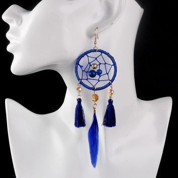 Bohemia Ethnic Vintage Women Earring Jewelry Indian Style Dreamcatcher Dangle Earring Long Feather Drop Earrings For Party Gift