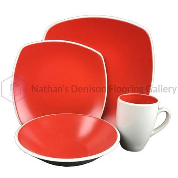 Novastone 16pc Square Stoneware Dinnerware Set