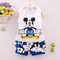 Baby Boys Clothing Sets Sleeveless Shirt+Shorts Kids Clothes Suit Children Clothing Set Tracksuits Mickey Vest 2016 Summer Syle