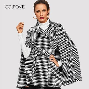 COLROVIE Black Office Self Belted Houndstooth Plaid Cape Wool Blend Winter Coat Women Fashion Cloak Sleeve Outerwear