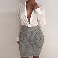 Women Bodycon Fashion Solid Color Knit Hollow Stripe High Waist Short Skirt