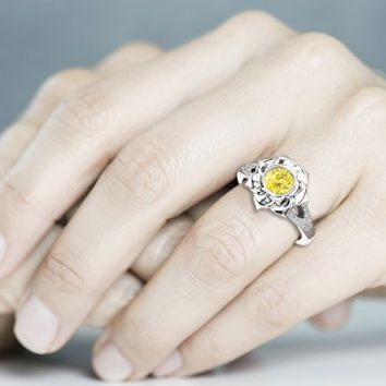 Special Reserved - White Gold Yellow Diamond Engagement Ring