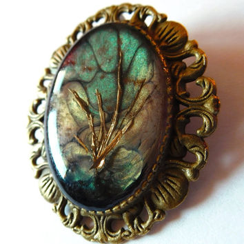 "Unique Brooch ""Golden Forest"", Mixed Media, Green Bronze Gold, Metal Cuttings, Crystal, Jewelry Pin, Jewellery Pin, Brass"