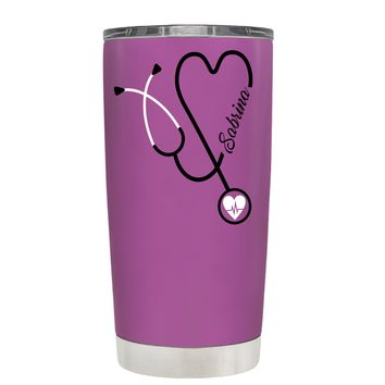 Personalized White Stethoscope Nurse Heart on Light Violet 20 oz Tumbler Cup