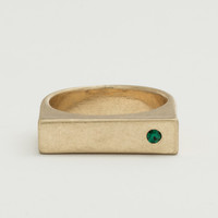 Worn Gold Solid Bar Ring - Emerald