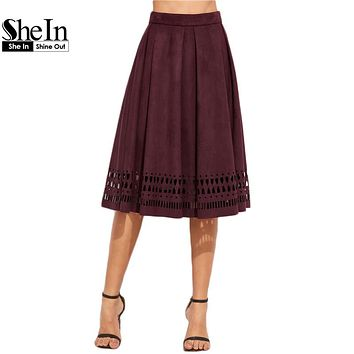 SheIn Womens Skirts Knee Length Women Fall Skirts Vintage Skirt Burgundy Faux Suede Laser Cut Out A Line Skirt