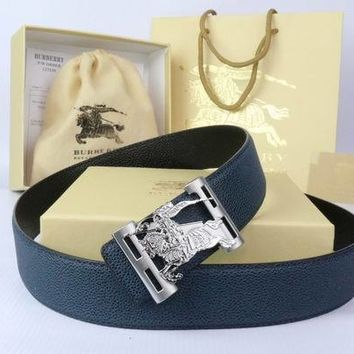 Burberry Woman Men Fashion Smooth Buckle Leather Belt