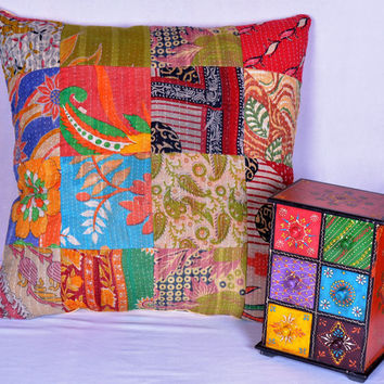 Vintage Kantha Patch Bohemian  Pillow, Sham, Cushion Cover One of a Kind : Kantha Throw Pillow, Pillow Cover ; Vintage Pillow