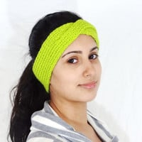 SALE Neon Green Headband Neon Green Ear Warmer Green Neon Headband Hand knitted headband Neon green hand knitted headband Green Ear Warmer k