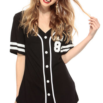 So Fancy Black Button Up Jersey Graphic Top