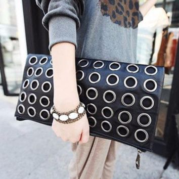 Stylish Black Ring Envelope Clutch