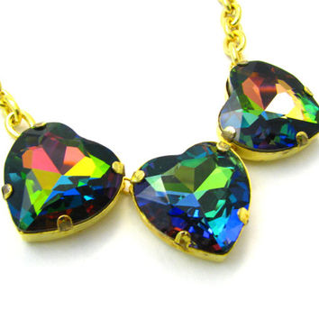 Rainbow Crystal Heart Necklace - Vitrail Medium Multicolored Prism Rhinestone Pendant Necklace w/ Chunky Yellow Gold Chain