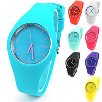 Silicone Quartz Watch Print Dial Women Wristwatch