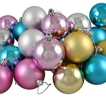 """24ct Matte and Shiny Pastel Multi-Color Shatterproof Christmas Ball Ornaments 2.5"""" (60mm)"""