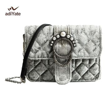 ADIYATE Women Bags New O Bag Velvet Pearl Winter Bag Clutch Bolsas Feminina Shoulder Estilo Europeu For Winter Bags 2017 Cheap