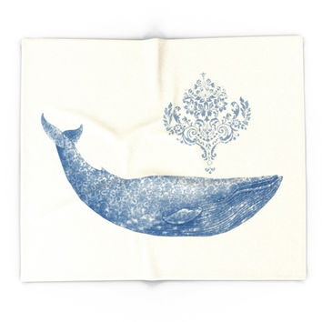 Society6 The Damask Whale Blanket