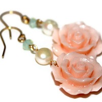 rosa - rose cabochon 14k gold earrings - ft. pearls, swarovski crystals, cabochons, 14k  gold wire  - gifts under 50