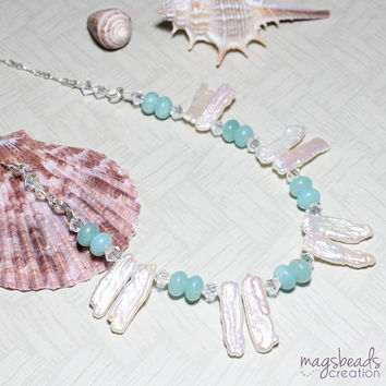 Freshwater Pearls and Amazonite Gemstone Beaded Necklace, Sterling Silver Chain Jewelry