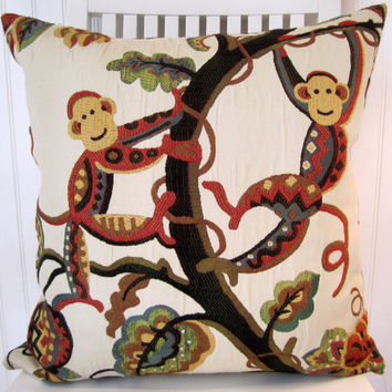 Animal Print Decorative Pillow Cover--Throw Pillow--Funky Monkeys-- 20x20--Red, Blue, Green, Gold, Black, Cream