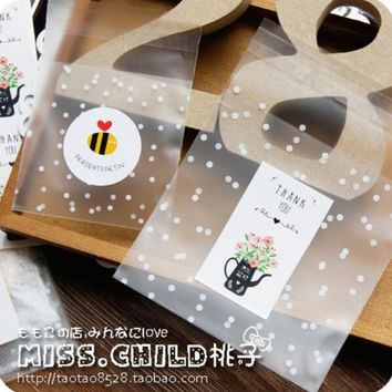 100pcs White Dots Transparent Frosted OPP Plastic Christmas Gift Bag Birthday Party Wedding Cookie Candy Packaging bag BZ012