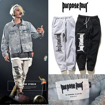 Purpose Tour Sweatpants Men Drawstring Tracksuit Justin Bieber Purpose Tour Stage Joggers Sweat Pants Purpose Tour Sweatpants