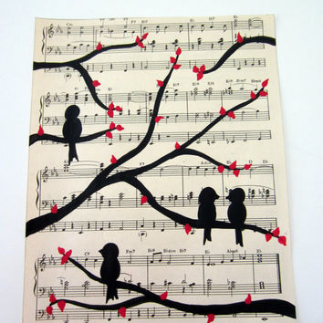 love birds on tree branch vintage sheet music art painting 8x10 black with red leaves