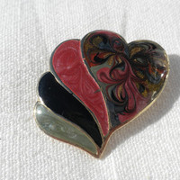 Heart Brooch Valentines Jewelry Colorful 1980s Jewelry Heart Pin Valentine Gift  Psychedelic Jewelry Swirled Pearlescent Enamel Jewelry