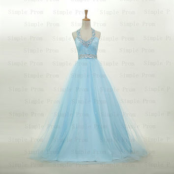 Custom Ball gown Hlater Floor-length Sleeveless Tulle Sequins Fashion Prom Dress Bridesmaid Dress Formal Evening Dress Party Dress 2013