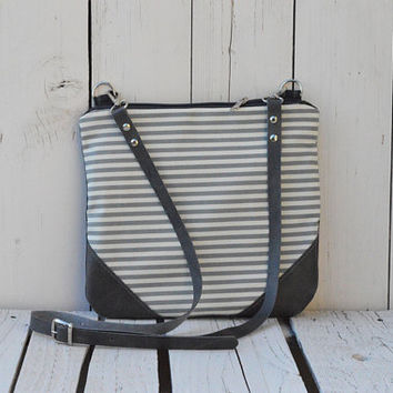 Crossbody bag, Canvas and Leather, Slouchy Messanger bag, Boho bag, Shoulder bag, Clutch purse