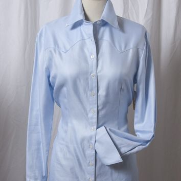 Women's Light Blue Diagonal Italian Cotton Western Shirt