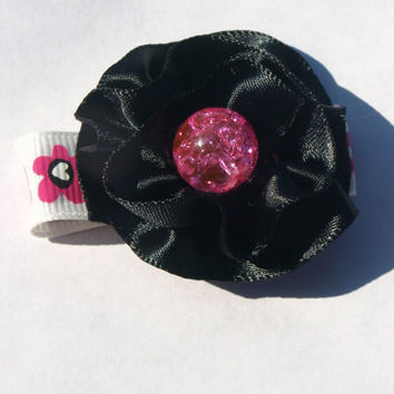 black and hot pink hair clip- sparkly pink and black - fancy hair accessories