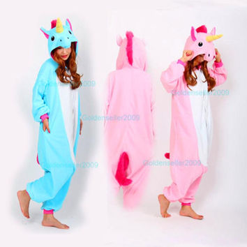Newest Adults Pajamas All in One Pyjama Animal Suit Cosplay Women Winter Garment Cute Cartoon Animal Unicorn Onesuits Pajama Sets
