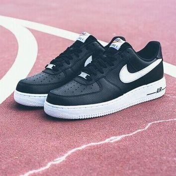 ESB8KY Nike Air Force 1 488298-092 Black For Women Men Running Sport Casual Shoes Sneakers