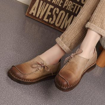 Fashion Online 2016 Spring Handmade Vintage Women's Shoes Genuine Leather Female Moccasins Loafers Soft Cow Muscle Outsole Casual Shoes Flats