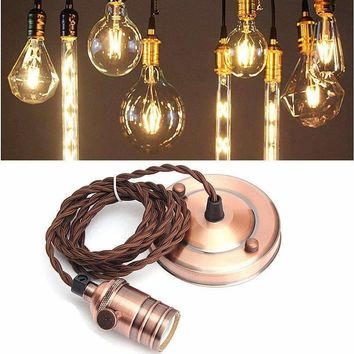 Newest E27/E26 2m Retro Vintage Edison Pendant Lamp Holder Copper Hanging Ceiling Rose Light Bulb Fixture With Sucker 110-240V