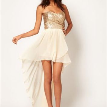 High-Low Strapless Sequin Embellished Bodice Chiffon Prom Dress PD1963