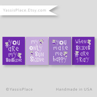 Baby Girl Wall Art, Purple Nursery Decor, Koala Playroom Art - You Are My Sunshine nursery art, baby shower gift, custom colors, YassisPlace