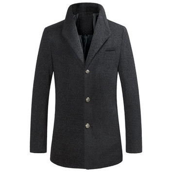 Men Jacket Coat Long Section Trench Coat Jaqueta Masculina Veste Homme Casual Fit Overcoat Jacket Outerwear SM6