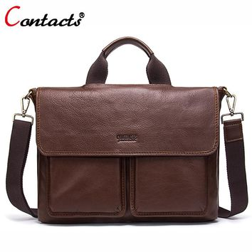 Contact's Genuine Leather Bag Men Bag Large Leather Handbag Men Laptop Briefcase Shoulder Crossbody Bag For Men Messenger Bag