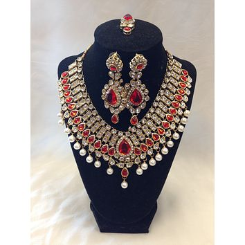 Indian Kundan Jewelry, Kundan Bridal Set - Red