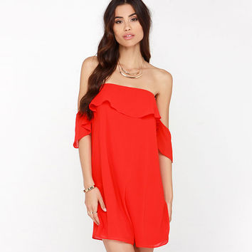 Red Chiffon Flounced Off-shoulder Mini Dress