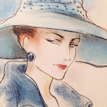 Lady In Blue Stretched Canvas Art Print