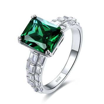 Merthus 4.5ct Emerald Green May Birthstone Gemstone Promise Engagement Ring 925 Sterling Silver