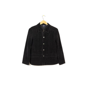 90s GAP black velvet shirt / vintage 1990s /  long sleeve button down / XS - S