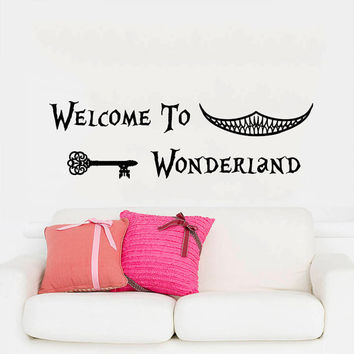Wall Decals Quotes Alice in Wonderland Wall Decal Quote Welcome To Wonderland Sayings Rabbit Wall Vinyl Decals Nursery Home Decor AN751